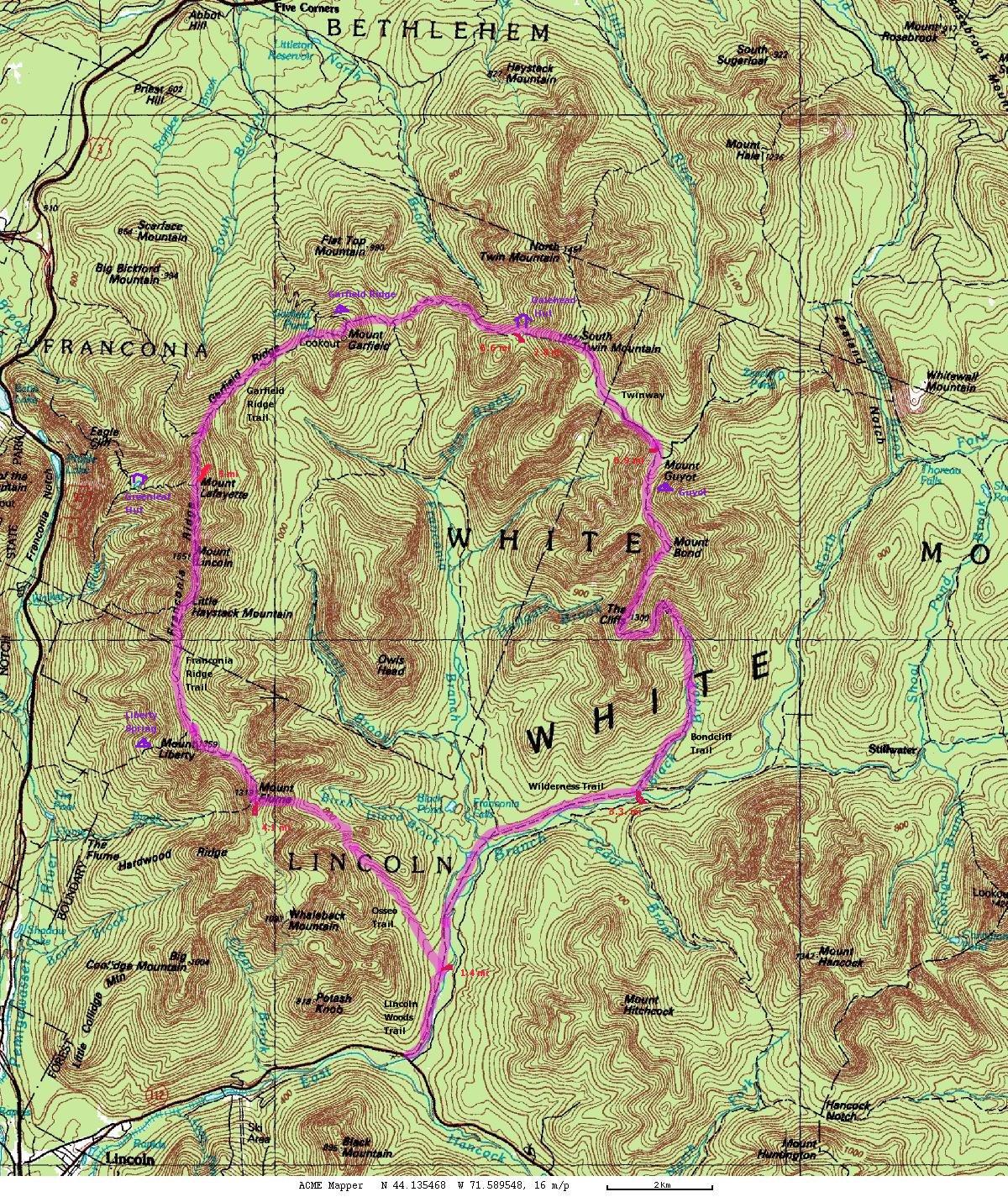 Pemigewasset Loop Map - Appalachian trail topo map